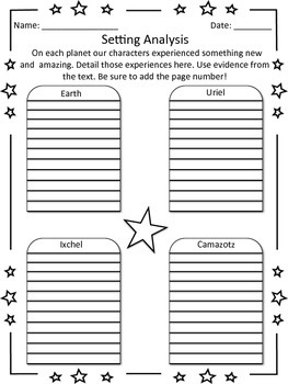 A Wrinkle in Time - Setting Analysis Worksheet