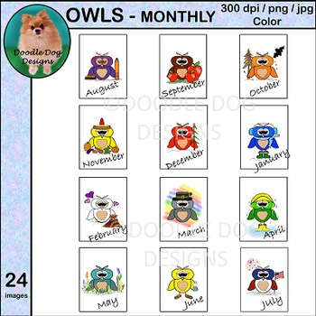 Owls - Clip Art - Monthly