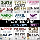 A Year of  Close Reads for BIG KIDS BUNDLE Common Core Aligned