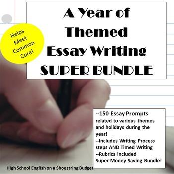 A Year of Themed Essay Writing, Super Bundle w Rubrics & P