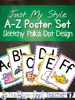 Alphabet Poster Set - Sketchy Polka Dot Style