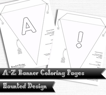 A-Z Banner Coloring Pages PDF Classroom Decoration or Part
