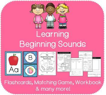 A-Z Beginning Sounds Bundle (Flashcards, Matching Game, Bi
