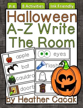A-Z Halloween Write The Room Activities & Word Wall Cards