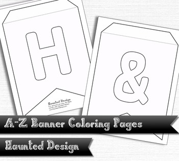 A-Z Two Pointed Banner Coloring Pages PDF Classroom Decora