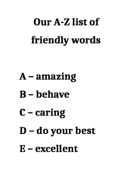 A-Z of friendly words