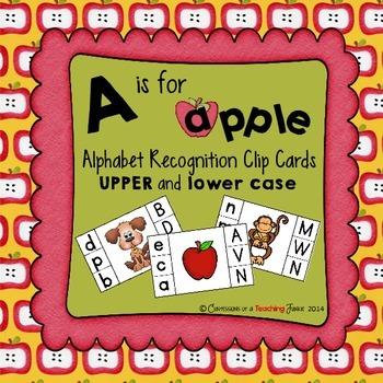 A is for Apple Alphabet Clip Cards