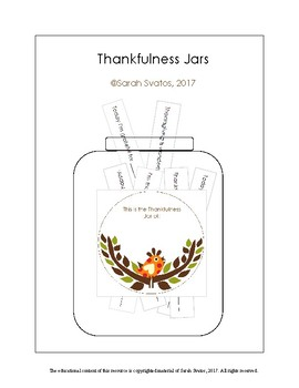 Whole class activity for Thanksgiving, Give Thanks, A Jar
