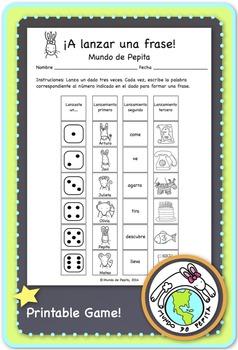 A lanzar una frase Spanish Printable Game