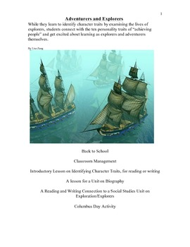Explorers in History: Reading for Character Traits & Class