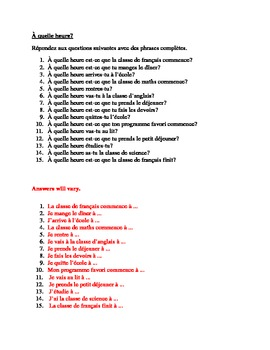 A quelle heure (At what time) French 2 review worksheet