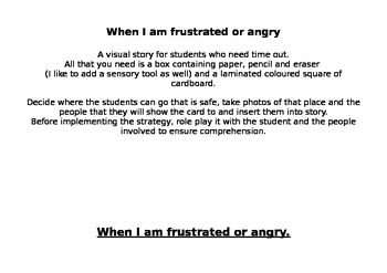 A story for students who need time out when frustrated or angry