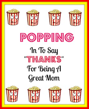 A thank you popcorn tag for mothers