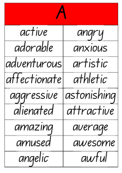 A to Z Adjectives Posters