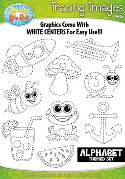 A to Z Alphabet Tracing Image Clipart Set 1 — Includes 26