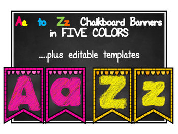 A to Z Chalkboard Banners in Five Different Colors with Ed