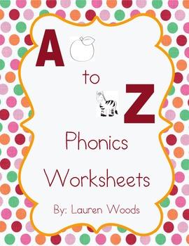 A to Z Phonics Worksheets - D'Nealian