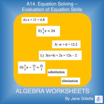 A14 Evaluation of Equation Skills