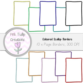 A4 Clip Art Page Borders, Coloured Scallop x 10 - White an