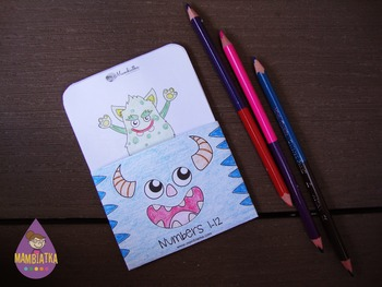 A6 Number flash cards with monsters - 1 to 12 - BLACK AND WHITE