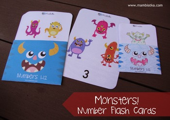 A6 Number flash cards with monsters - 1 to 12 - COLOUR