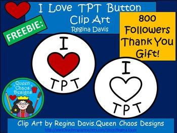 A+800 FOLLOWER FREEBIE...Clip Art: I Love TPT Heart Button
