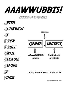 AAAWWUBBIS Subordinate Conjunctions Anchor Chart, Handouts