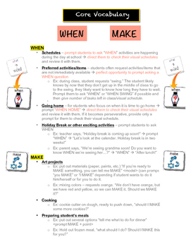 AAC Core Vocabulary of the Week (3) - WHEN, MAKE / PLAY, H