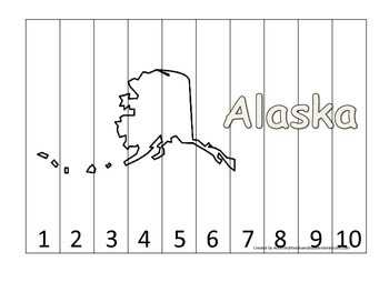 Alaska Number Sequence Puzzle.  Learn the States preschool