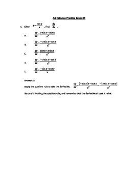 AB Calculus Full-Length Practice Exam #1
