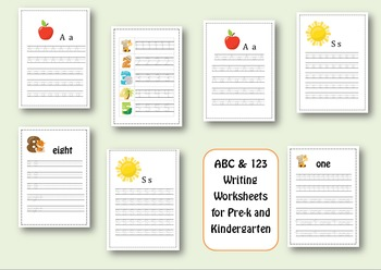 ABC & 123 Writing Pages for Pre-k and Kindergarten ( 126 pages)
