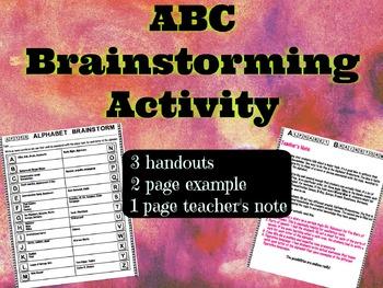 ABC Alphabet Brainstorm Activity