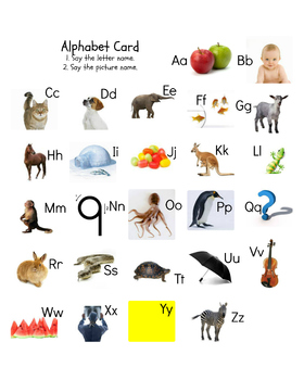 ABC Alphabet Picture and Letter Card