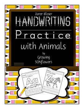 ABC Handwriting Practice with Animals Through the Alphabet