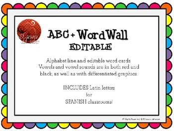 ABC Line + Editable Word Wall Cards - Colorful Dots (+Span