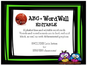 ABC Line + Editable Word Wall Cards - Owl Decor (+Spanish