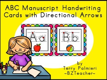 ABC Manuscript Handwriting Cards with Directional Arrows -