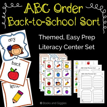 ABC Order Back to School Sort