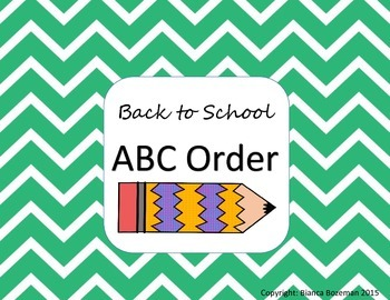 ABC Order: Beginning of the year