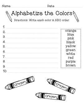 ABC Order - Colors