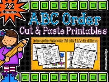 ABC Order Cut and Paste Printables {22 themes}