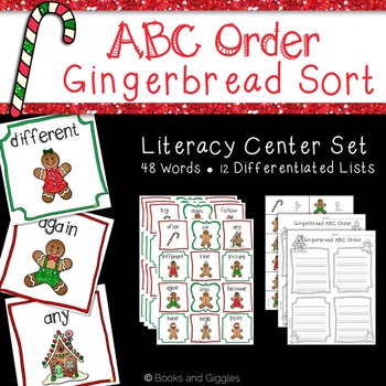 ABC Order Gingerbread Theme Literacy Center