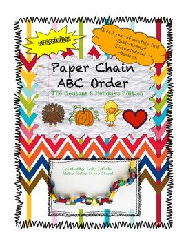 ABC Order Paper Chain Craftivity: Seasons and Holidays Edition