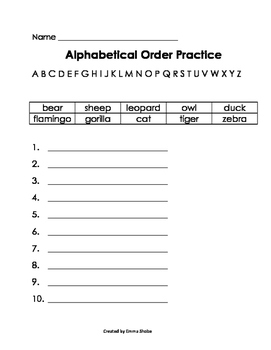 ABC Order Practice Animals