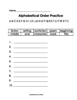 ABC Order Practice Reading