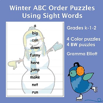 ABC Order Puzzles for Sight Word Practice with Winter Them