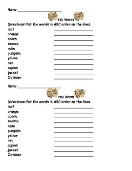 ABC Order Quiz with Fall Words