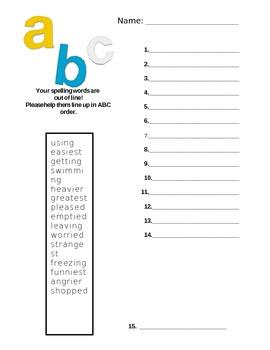 ABC Order Spelling