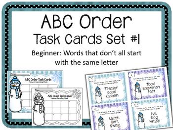 ABC Order. Task Cards. Language Arts Center. Alphabetical