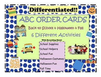 ABC Order Themed Cards: Back to School & Halloween...Diffe